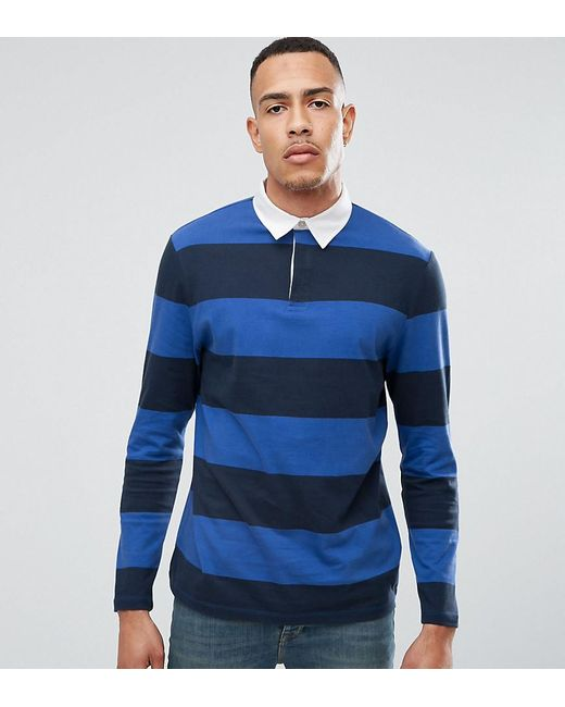 Lyst asos tall relaxed stripe long sleeve rugby polo in for Big and tall polo rugby shirts