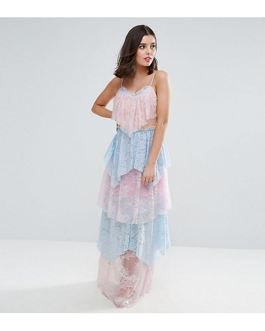 True Decadence - Blue Allover Premium Lace Tiered Maxi Dress - Lyst