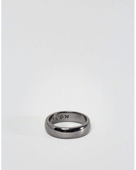 Icon Brand - Metallic Band Ring In Gunmetal for Men - Lyst