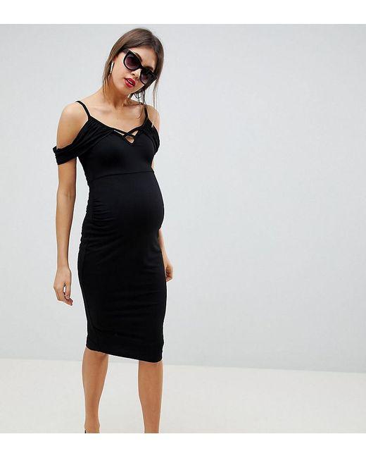Lyst Asos Asos Design Maternity Cold Shoulder Bodycon Midi Dress