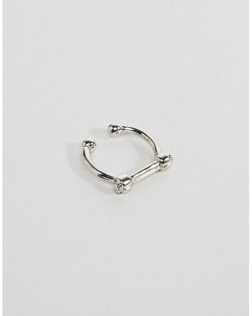 ASOS | Metallic Faux Septum Ring With Bar In Silver | Lyst