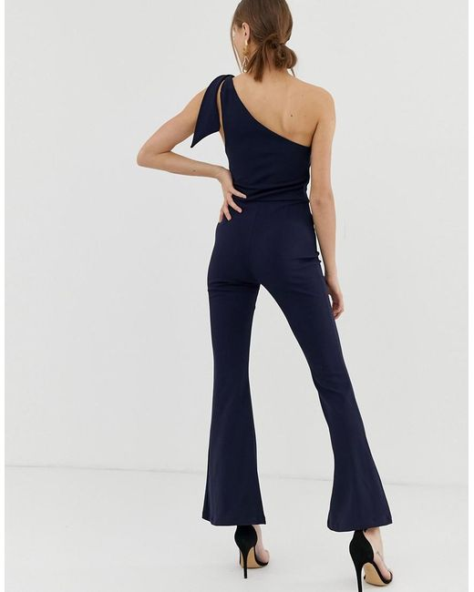99ecac24dc6 ... John Zack - Blue One Shoulder Fitted Jumpsuit With D Ring Belt Detail  In Navy -