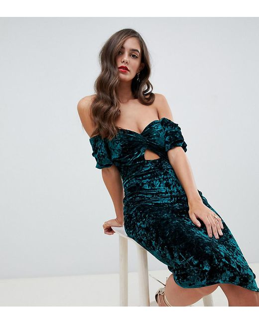 a239c1321553 Flounce London - Green Off Shoulder Velvet Midi Dress With Cut Out Front -  Lyst ...