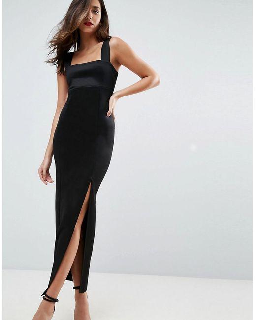 ASOS - Black Square Neck Scuba Maxi Dress With Thigh Split - Lyst