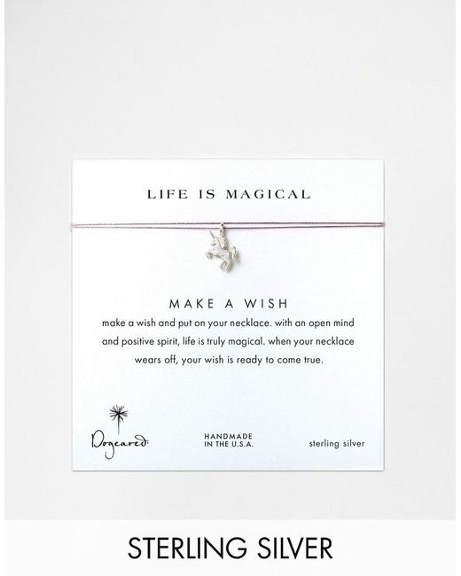 Dogeared | Metallic Sterling Silver Life Is Magical Silver Unicorn Make A Wish Necklace | Lyst