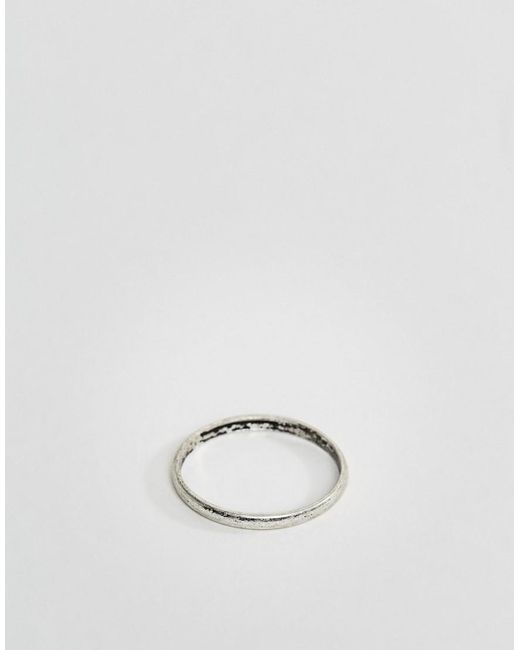 ASOS | Metallic Ditsy Ring In Burnished Silver for Men | Lyst