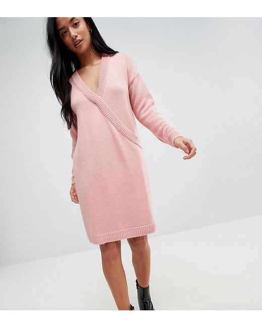 ASOS - Pink Chunky Knitted Dress With Wrap Detail - Lyst