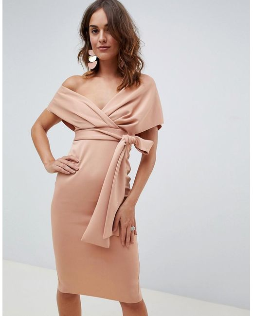 d9b246817333 ASOS - Pink Fallen Shoulder Midi Pencil Dress With Tie Detail - Lyst ...