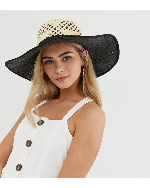 Miss Selfridge - Natural Sun Hat With Contrast Underlay In Nude - Lyst