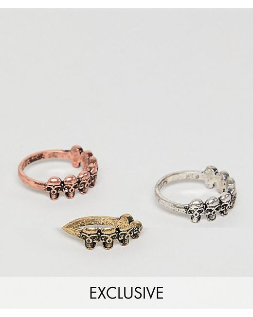 Reclaimed (vintage) - Multicolor Inspired Ring Pack With Skulls And Mixed Metals Exclusive At Asos for Men - Lyst