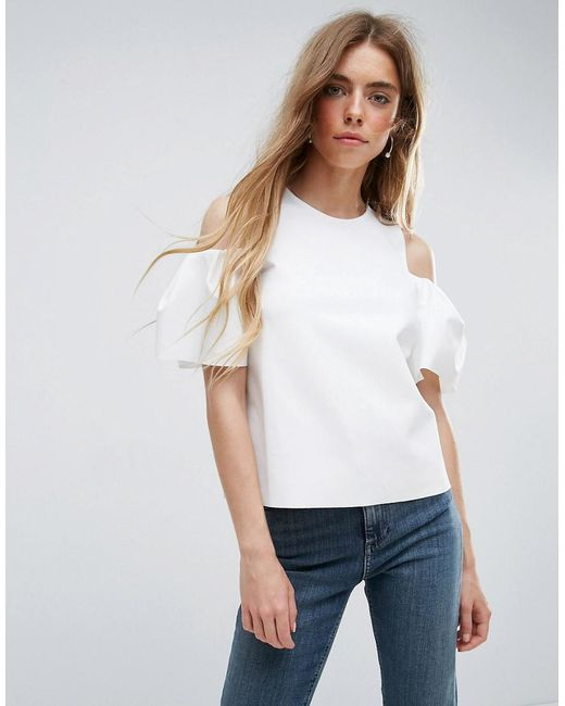 ASOS   White Top With Cold Shoulder Tulip Sleeve   Lyst