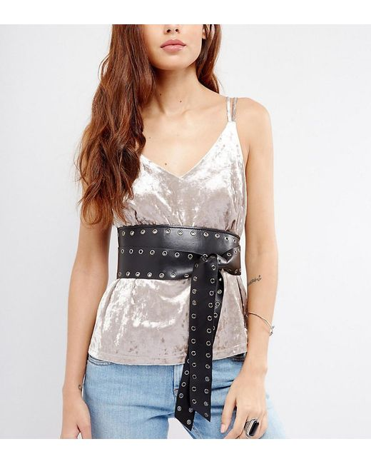 Glamorous - Black Eyelet Soft Obi Wrap Belt - Lyst