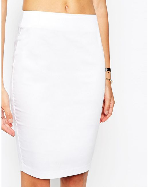 Asos High Waisted Pencil Skirt in White | Lyst