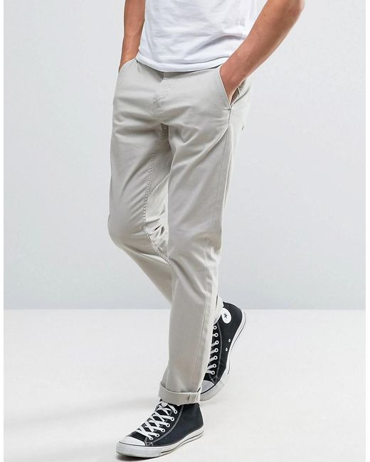 Only & Sons | Gray Slim Fit Chinos In Light Grey for Men | Lyst