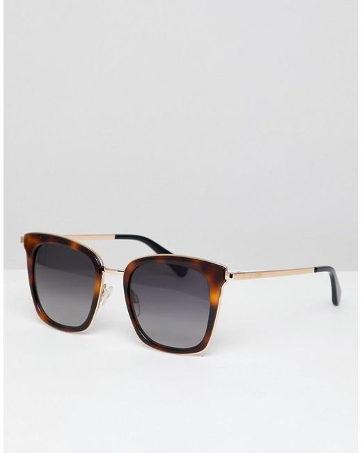 Love Moschino Brown Square Sunglasses In Tort for men