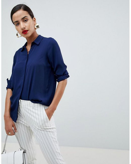ASOS - Blue Blouse - Lyst