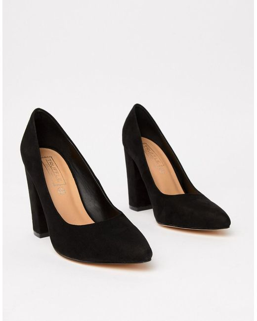 Truffle Collection - Black Wide Fit Pointed Block Heels - Lyst