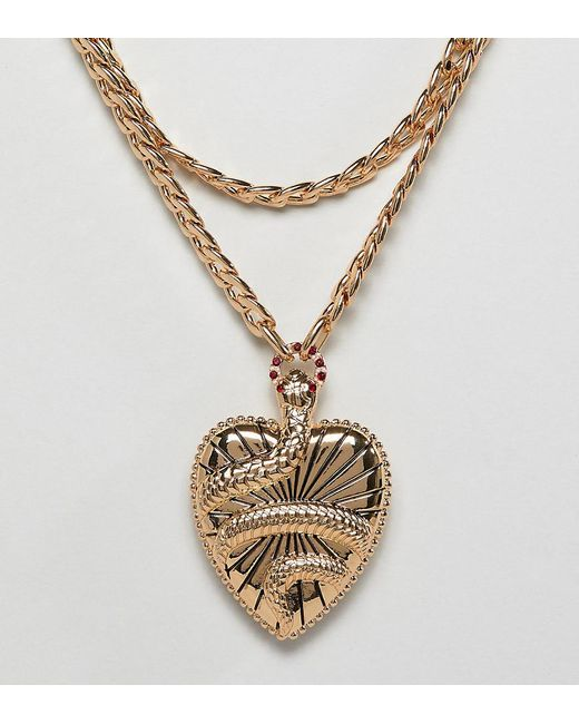 ASOS - Metallic Asos Design Curve Statement Multirow Necklace With Vintage Style Snake Locket In Gold - Lyst