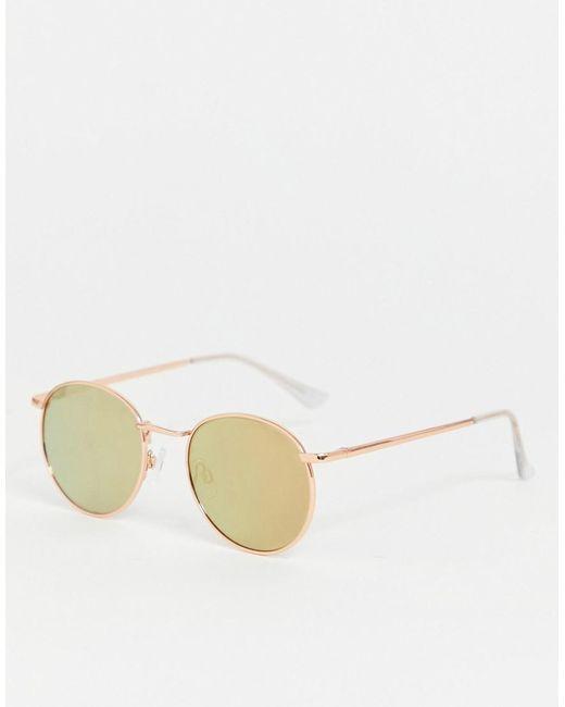 ASOS Metallic 90s Metal Round Sunglasses In Rose Gold Flash Lens