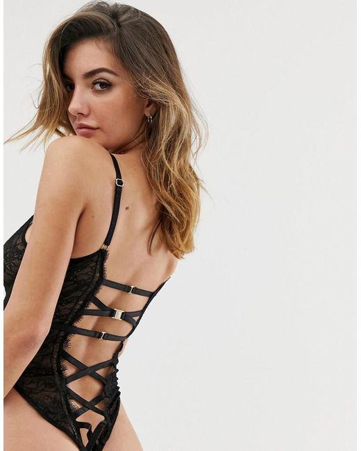 481a4738fcd2 ... ASOS - Black Elle Delicate Lace Strappy Back Bodysuit - Lyst