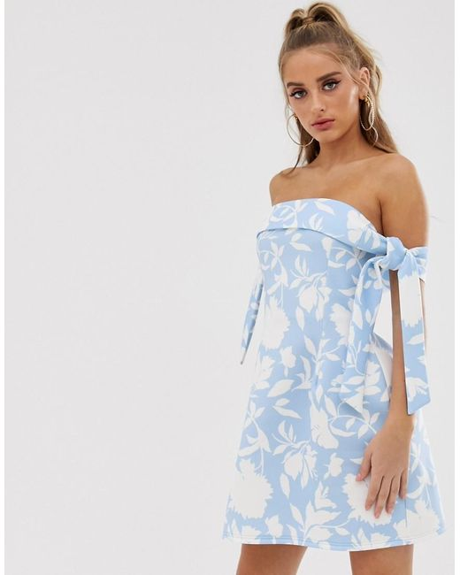 cd5838be86b6 ASOS - Blue Tie Sleeve Floral Mini Skater Dress - Lyst ...