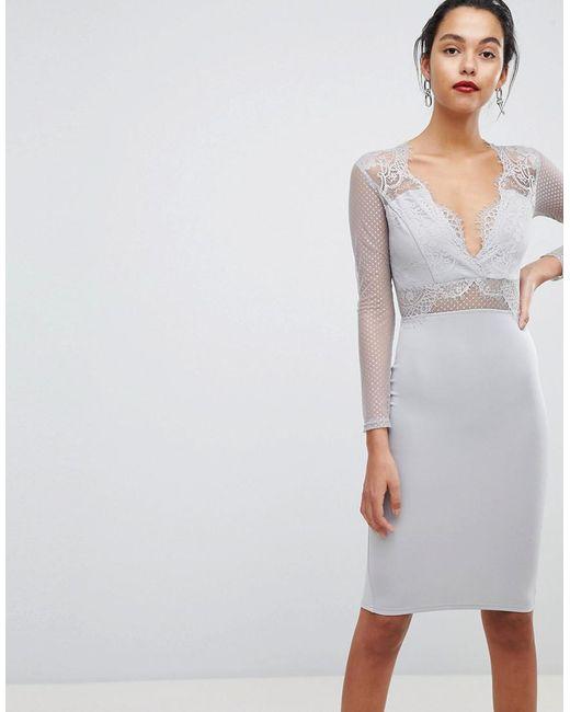 AX Paris - Gray Long Sleeved Waisted Midi Bodycon Dress - Lyst