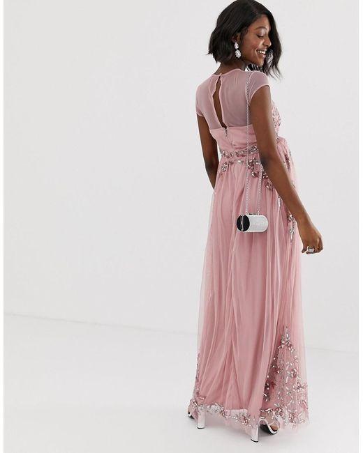 50eb4407713 ... Maya Maternity - Pink All Over Premium Embellished Mesh Cap Sleeve Maxi  Dress In Vintage Rose