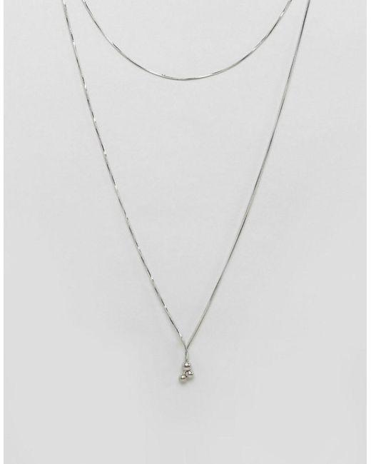 Pieces | Metallic Multi Row Necklace | Lyst