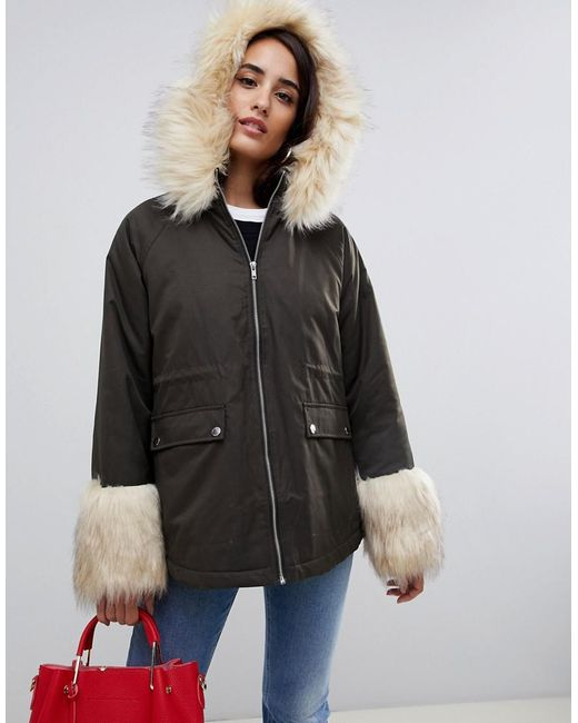 ASOS - Green Faux Fur Collar And Cuff Parka Jacket - Lyst