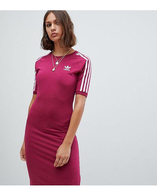adc8ca6a29b Adidas Originals - Red Three Stripe Midi Dress In Ruby - Lyst ...