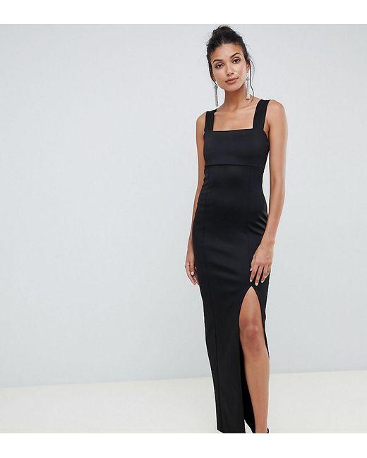 3afe0109c58 ASOS - Black Asos Design Tall Square Neck Maxi Dress With Thigh Split -  Lyst ...