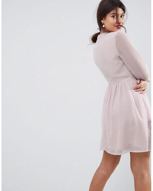 ASOS Asos Premium Eyelash Lace Mini Dress With Embroidery
