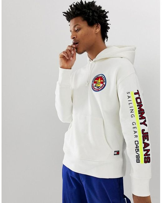 c1fc704f3b8 Tommy Hilfiger - 90s Sailing Capsule Back And Sleeve Logo Hoodie In White  for Men ...