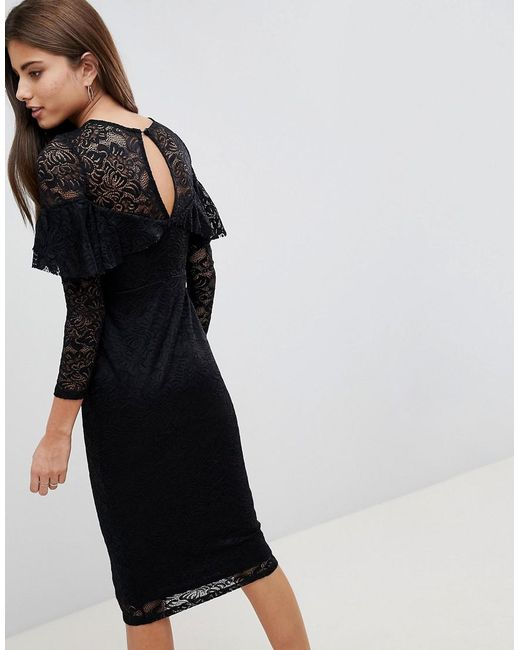 c7046631 ... ASOS - Black Asos Midi Lace Pencil Dress With Long Sleeves And Frill  Detail - Lyst