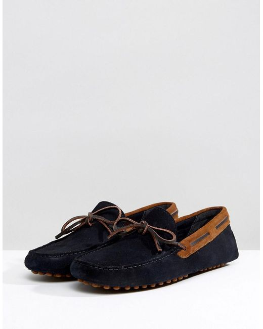 Wide Fit Driving Shoes In Navy Suede With Brown Leather Detail - Navy/tan Asos BnWLELTbe