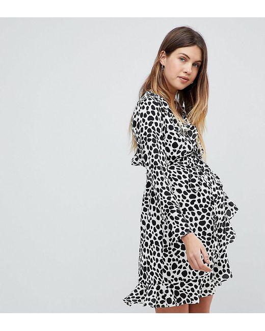 68dcf5f5eb93 ASOS - Multicolor Mono Polka Dot Ruffle Wrap Mini Dress - Lyst ...