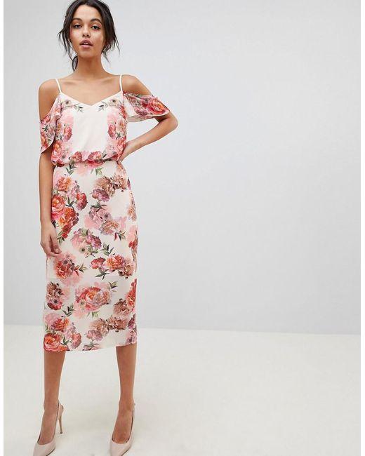 Oasis - Pink Floral Print Cold Shoulder Midi Dress - Lyst