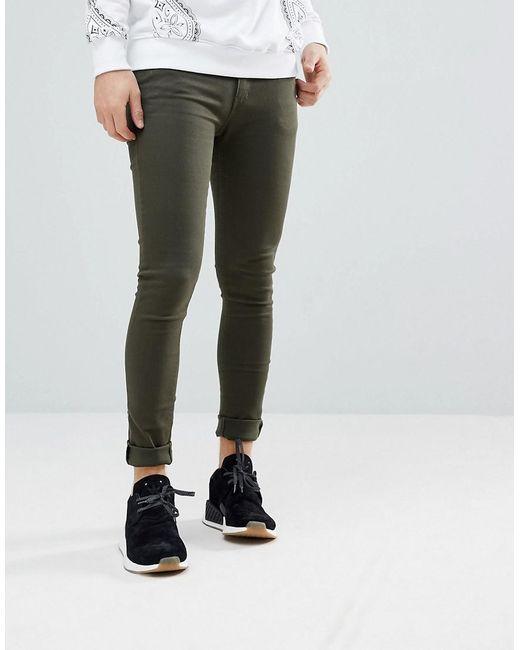 Sale In China Super Skinny Jeans in Olive - Green Criminal Damage Outlet Shop T5EFhVSj2