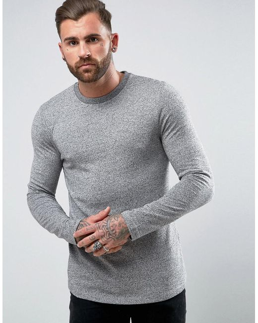 ASOS | Gray Long Sleeve T-shirt In Heavyweight Twisted Jersey With Curve Hem for Men | Lyst