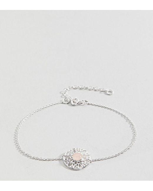 ASOS   Metallic Sterling Silver Faux Rose Quartz Fine Chain Bracelet   Lyst