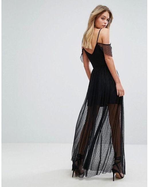 Premium Dot Mesh Embroidered Maxi Dress - Black New Look Shopping Online Original Free Shipping Store Outlet Find Great Best For Sale Pictures For Sale drQhC7I6