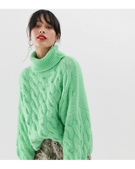 0879b17ae81 Stradivarius Cable Roll Neck Sweater In Green in Green - Lyst