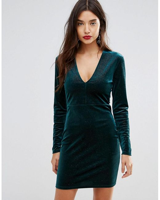 ivyrevel deep v pleated velvet mini dress in green lyst. Black Bedroom Furniture Sets. Home Design Ideas
