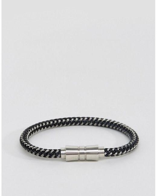 Seven London | Woven Black & White Bracelet for Men | Lyst