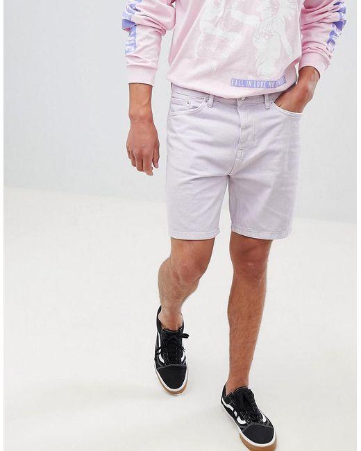 Bershka - Purple Slim Fit Denim Shorts In Lilac for Men - Lyst