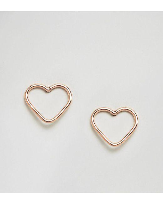 Kingsley Ryan Metallic Rose Gold Cut Out Heart Ear Studs Lyst