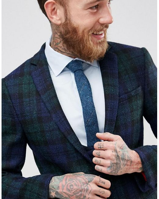 Noose and monkey Harris Tweed Super Skinny Suit Jacket In Tartan ...