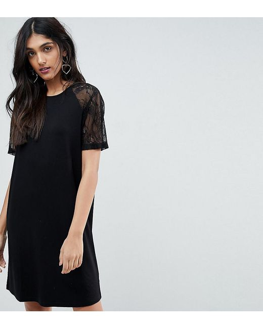 ASOS - Black T-shirt Dress With Lace Raglan Sleeve - Lyst