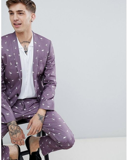 5a4484cafd7f Noose And Monkey - Purple Super Skinny Printed Flamingo Suit Jacket for Men  - Lyst ...