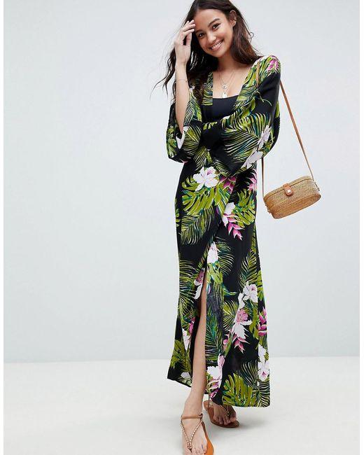60b1fdbf6a ASOS - Green Dark Tropical Print Long Sleeve Plunge Beach Maxi Dress - Lyst  ...